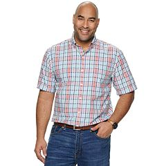 Big & Tall IZOD Breeze Cool FX Classic-Fit Plaid Button-Down Shirt