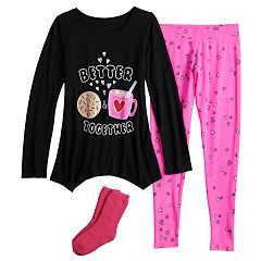 Girls 4-14 SO® Tunic Top & Thermal Fleece Leggings Pajama Set with Socks