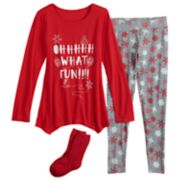 Girls 4-14 SO® Tunic Top & Thermal Fleece Leggings Pajama Set with Socks