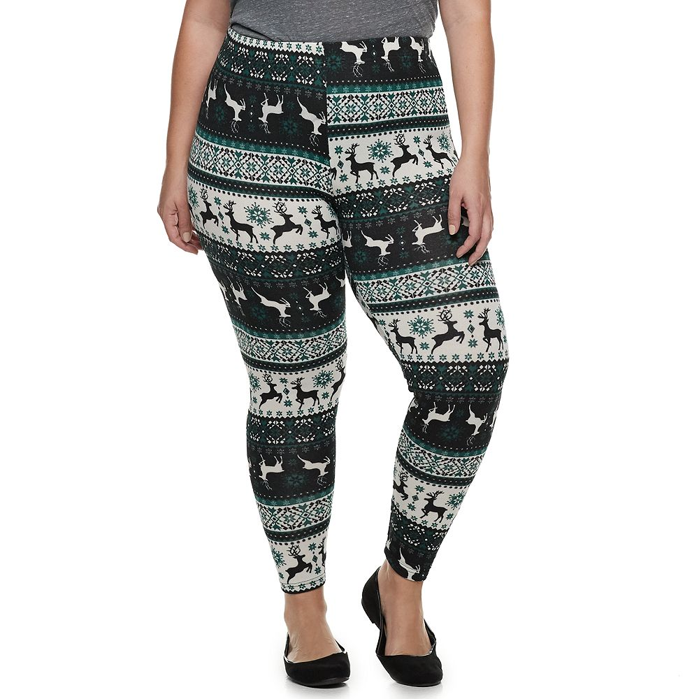 Plus Size French Laundry Printed Holiday Leggings