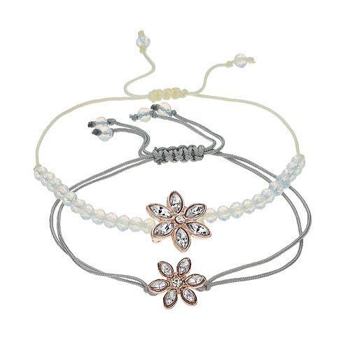 LC Lauren Conrad Bead & Flower Bracelet Set