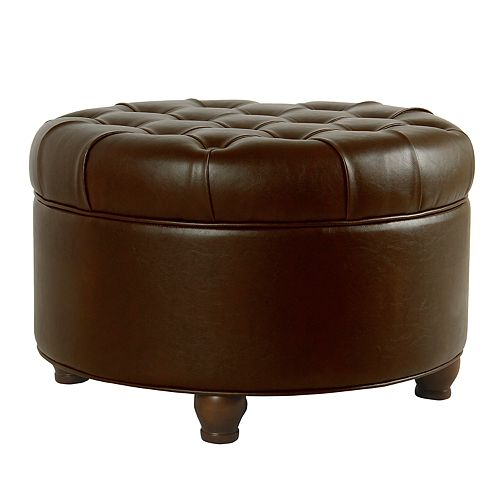 HomePop Faux-Leather Round Storage Ottoman