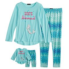 Girls 4-10 Cuddl Duds Top & Bottoms Pajama Set with Doll Pajama Set