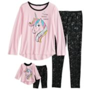 Girls 4-10 Cuddl Duds Top & Bottoms Pajama Set with Doll Pajama Set