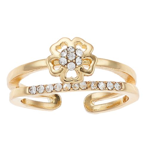 LC Lauren Conrad Double Row Flower Pave Ring