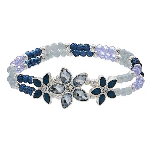 LC Lauren Conrad Blue Flower Stretch Bracelet