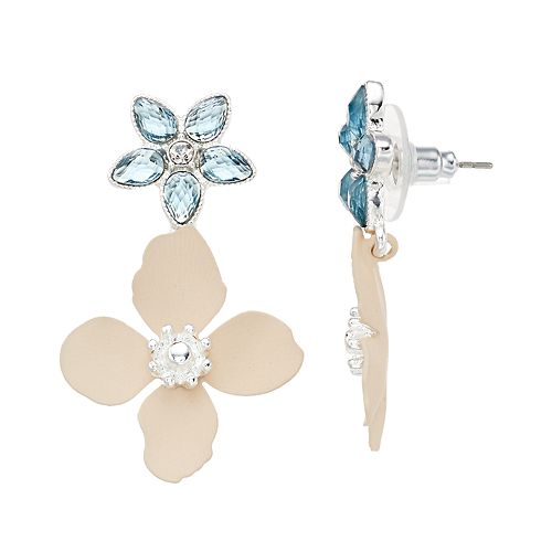 LC Lauren Conrad Double Flower Nickel Free Drop Earrings