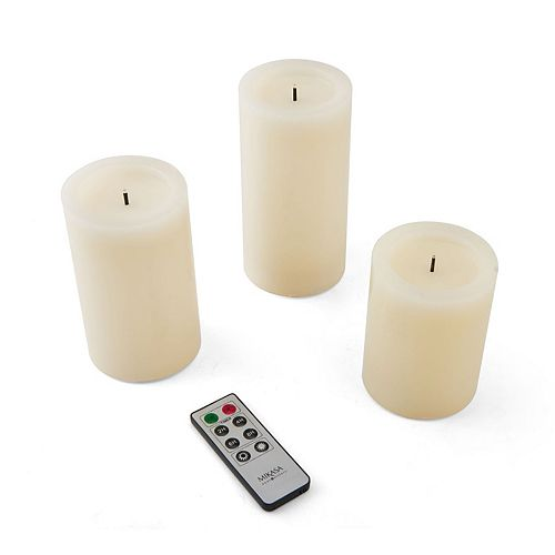 Mikasa Litwick Realistic Flameless Remote Control Wax Pillar Candle 3-piece Set
