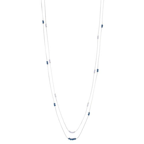 LC Lauren Conrad Silver-Tone Beaded Double Strand Necklace