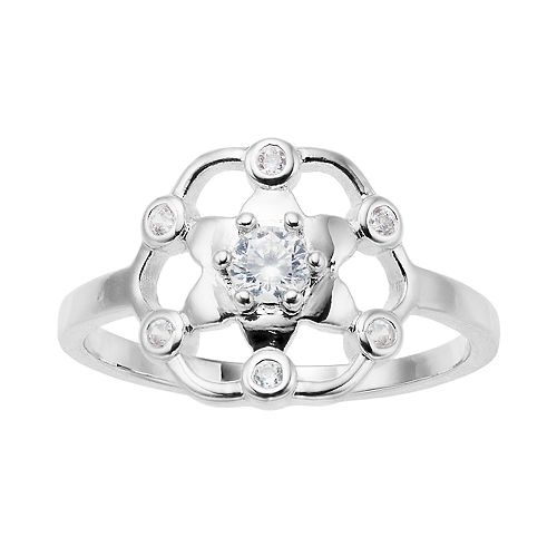 LC Lauren Conrad Open Work Crystal Ring