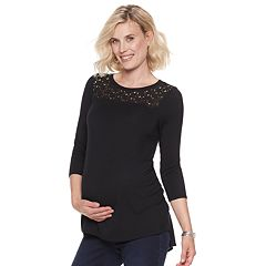 Maternity a:glow High-Low Hem Lace Tee