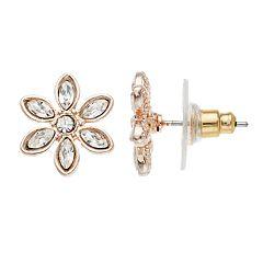 LC Lauren Conrad Simulated Crystal Flower Nickel Free Button Stud Earrings