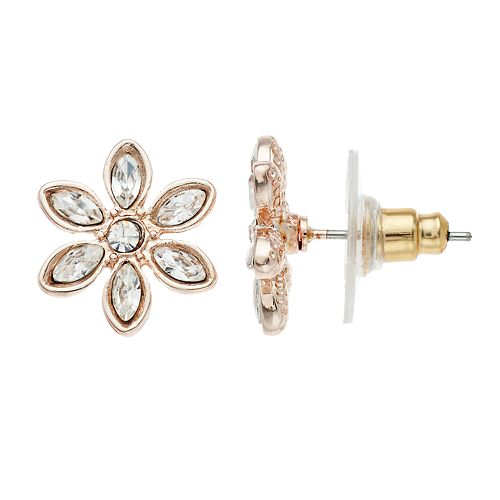 LC Lauren Conrad Simulated Crystal Flower Nickel Free Button Stud Earrings