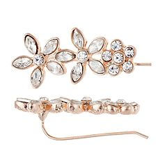 LC Lauren Conrad Simulated Crystal Triple Flower Earrings