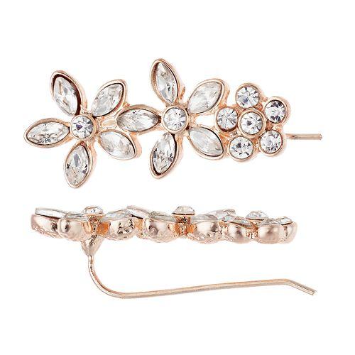LC Lauren Conrad Simulated Crystal Triple Flower Earrings