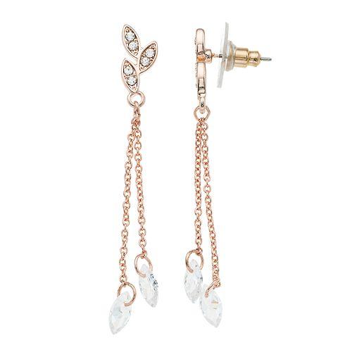 LC Lauren Conrad Leaf & Simulated Crystal Linear Drop Earrings