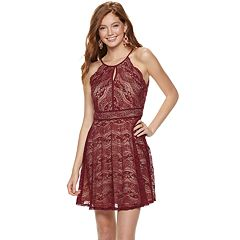 Juniors' Lily Rose High Neck Lace Skater Dress
