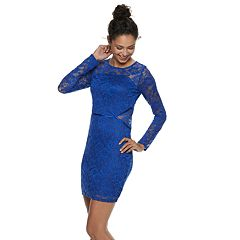 Juniors' Social Stories Lace Cutout-Waist Bodycon Dress