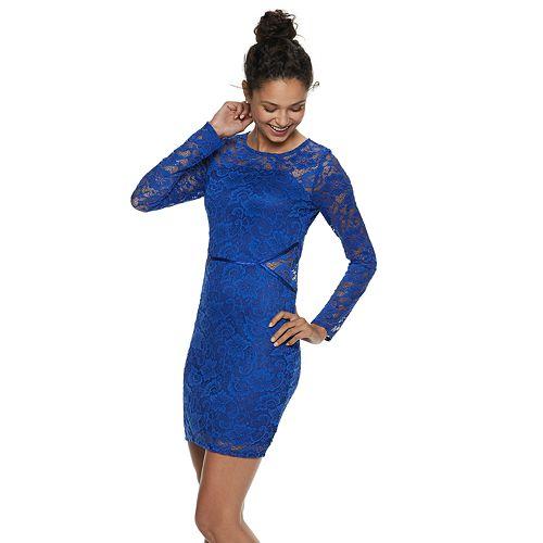 Juniors' Social Stories Lace Cutout-Waist Bodycon Dress