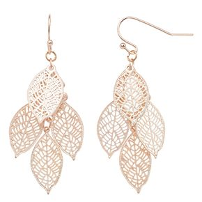 LC Lauren Conrad Rose Gold Tone Leaf Layer Nickel Free Drop Earrings