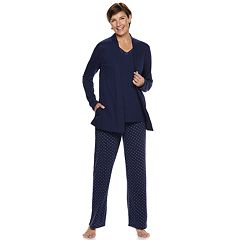 Petite Croft & Barrow® 3-piece Cardigan, Tank & Pants Pajama Set