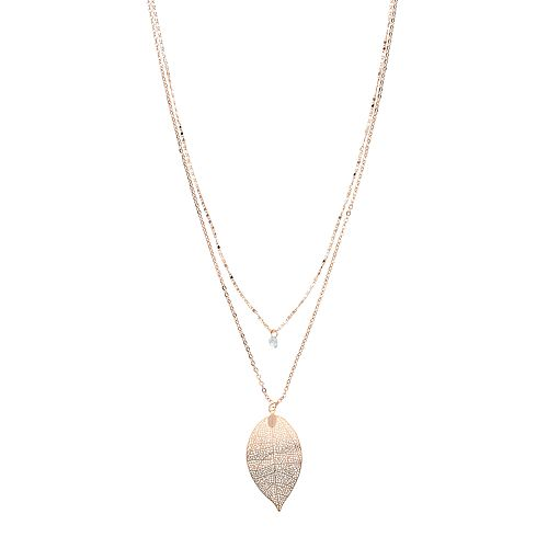 LC Lauren Conrad Layered Leaf Pendant Necklace