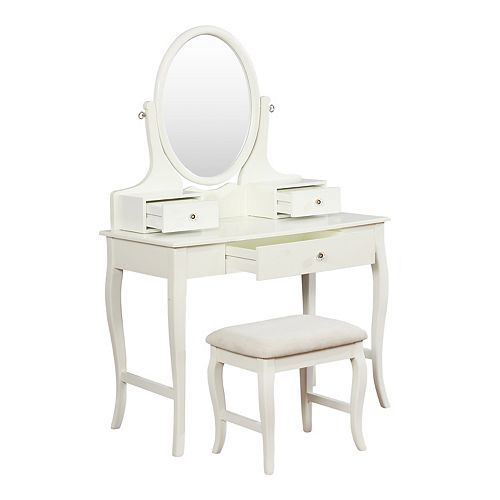Linon April Vanity Table & Stool 2-piece Set