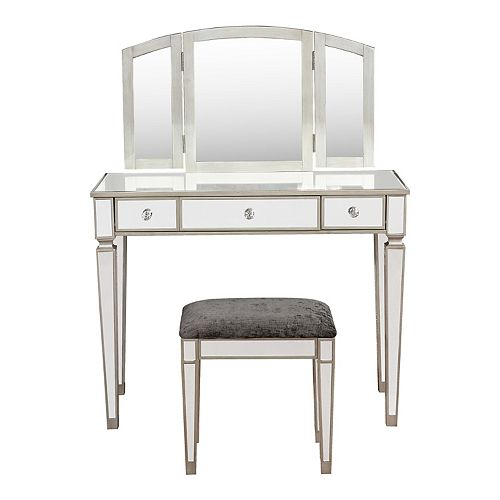 Linon Adeline Mirrored Vanity Table & Stool 2-piece Set