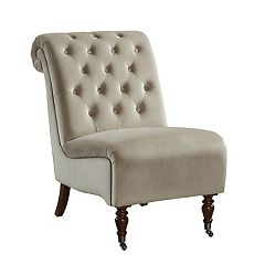 Linon Cora Tufted Slipper Accent Chair