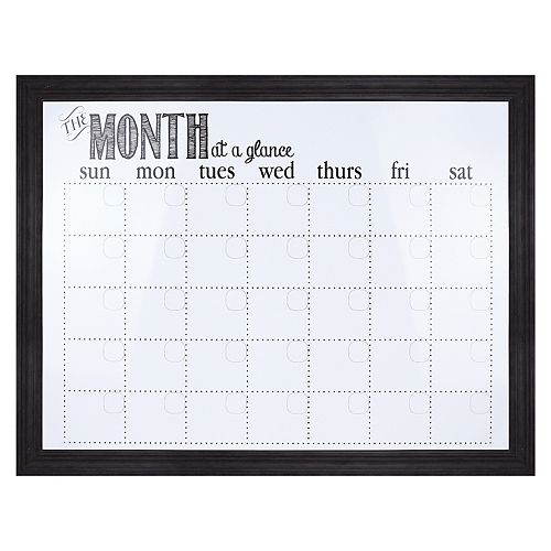 "Sheffield Home Black ""Month At A Glance"" Dry Erase Calendar Wall Decor"