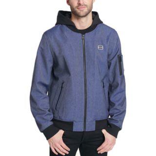 <p>Men's Levi's® Hooded Softshell Varsity Bomber Jacket</p>
