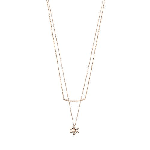 LC Lauren Conrad Curved Bar & Flower Layered Necklace