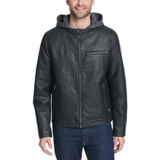 <p>Men's Levi's® Faux-Leather Hooded Racer Jacket</p>