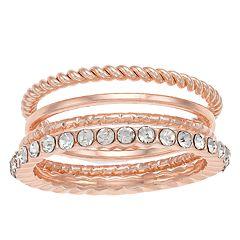 LC Lauren Conrad Rose Gold Tone Textured Ring Set
