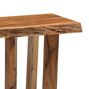 Alaterre Furniture Berkshire Live Edge Criss-Cross End Table