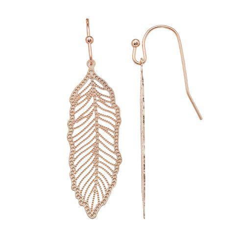LC Lauren Conrad Filigree Feather Nickel Free Drop Earrings