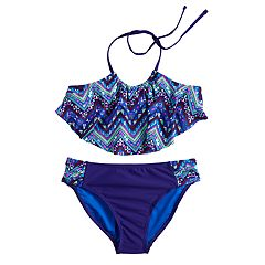 Girls 7-16 SO® Chevron Flounce Bikini Top & Bottoms Swimsuit Set
