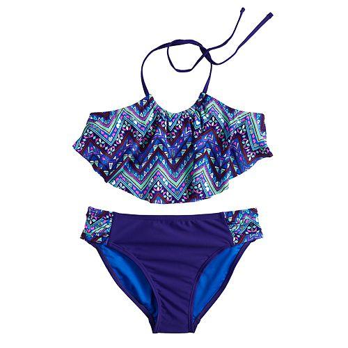 Girls 7-16 SO® Chevron Flounce Bikini Top & Bottoms Swimsuit Set