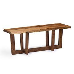 Alaterre Furniture Berkshire Live Edge Criss-Cross Large Bench