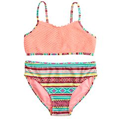 Girls 7-16 SO® Global Stripe Bikini Top & Bottoms Swimsuit Set