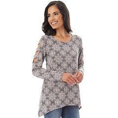 Women's Apt. 9® Sharkbite-Hem Lattice-Sleeve Top