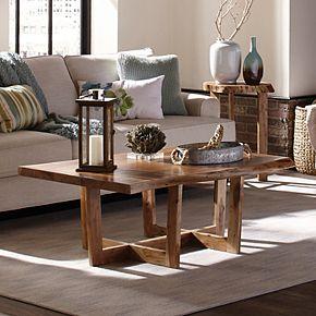 Alaterre Furniture Berkshire Live Edge Criss-Cross Large Coffee Table