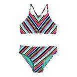 Girls 7-16 SO® Miter Stripe Bikini Top & Bottoms Swimsuit Set