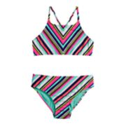 Girls 7-16 SO® Miter Stripe Bikini Top & Bottoms Swimsuit Set