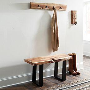 Alaterre Furniture Alpine Live Edge Wood Coat Hook Wall Decor