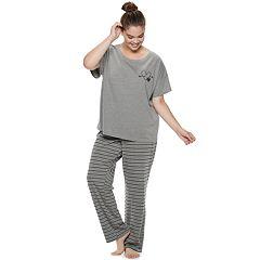 Plus Size SO® Boxy Tee & Pants Pajama Set