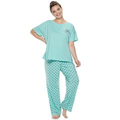 Plus Size SO® Boxy Tee & Pants Pajama Set