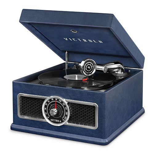 Victrola 5-in-1 Nostalgic Bluetooth Record Player with CD, Radio & Record Storage