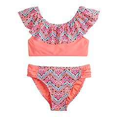 Girls 7-16 SO® Flounce Printed Bikini Top & Bottoms Swimsuit Set