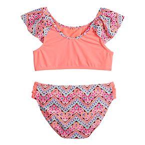 Girls 7-16 SO® Flounce Printed Bikini Top & Bottoms Swimsuit Set